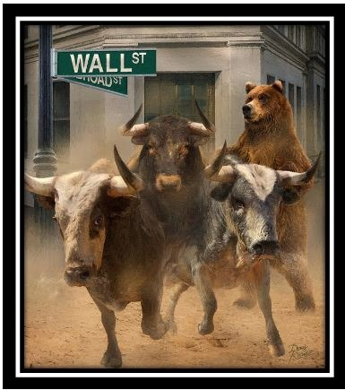 gallery/bulls & bear running framed
